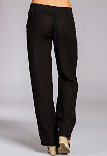 de Negro KHS025 Mujer Pantalones Largos Corto para Caspar Lino Holgado 1q67Oxw