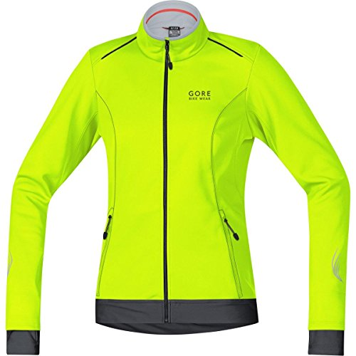 GORE BIKE WEAR Women's Warm Soft Shell Cycling Jacket, GORE WINDSTOPPER, ELEMENT LADY WS SO Jacket, Size 42, Neon Yellow/Black, JWELEL