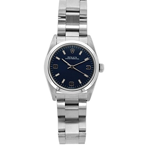 Rolex Mid-Size Oyster Perpetual swiss-automatic blue womens Watch 77080BLSO (Certified Pre-owned)