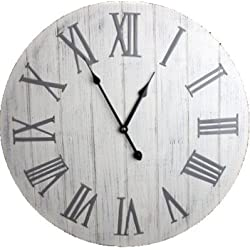 Large White Washed Wooden Wall Clock with Metal Roman Numerals 50cm by Carousel Home
