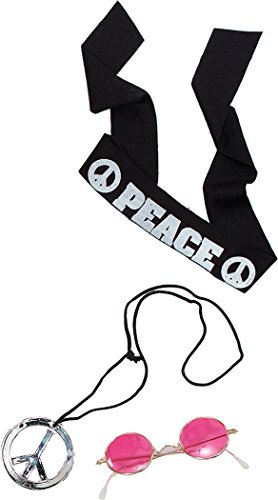 Fancy Dress Accessory 60s 70s John Lennon Hippy Kit (Headband,Pendant,Glasses) (Dress John Fancy Lennon)