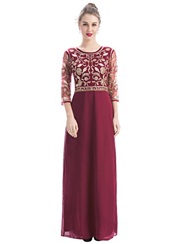 MANER Women Chiffon Beaded Sequin 3/4 Sleeve Long Gowns Prom Evening Bridesmaid Dress (XL, Burgundy/Apricot)