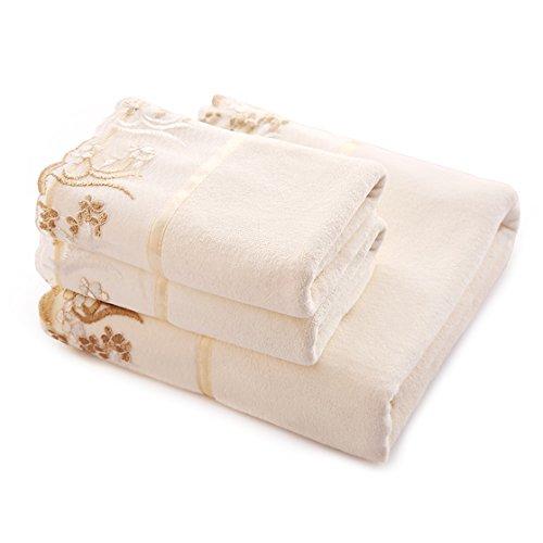 Riverbyland White 2 Towel and 1 Bath Towel Lace Floral Set