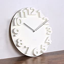 Digital clock,[modern] Simple Creative wall clocks Living room 3D stereo digit Clocks Large wall charts Plastic-White 14inch