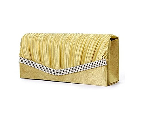 ma-on Lady da sera borsetta pochette catena strass raso (dorato)