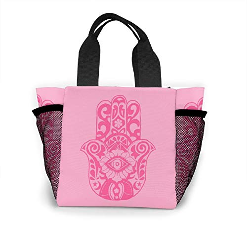 Fjb11 Lunch Handbag with Water Bottle Holder for Kids, Abstract Hand Draw Printed Multipurpose Snack, Picnic Tote Bag]()