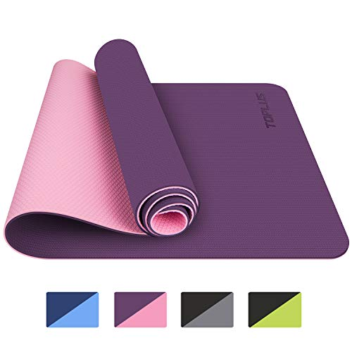 TOPLUS Yoga Mat, Upgraded Non-Slip Texture 1/4 inch Pro Yoga Mat TPE Eco Friendly Exercise & Workout Mat with Carrying Strap - for Yoga, Pilates and Floor