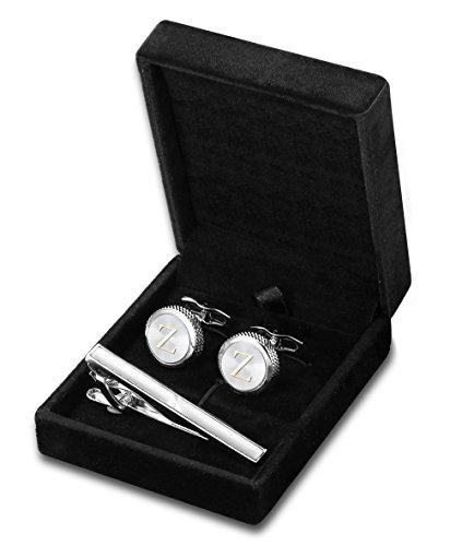(FIBO STEEL Personalized Initial Cufflinks Tie Clips Set for Men Gifts Custom Letter Wedding Cufflinks Case)