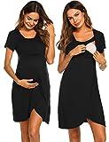Ekouaer Maternity Nightgown Nursing/Labor/Delivery Gown Hospital Breastfeeding Dress