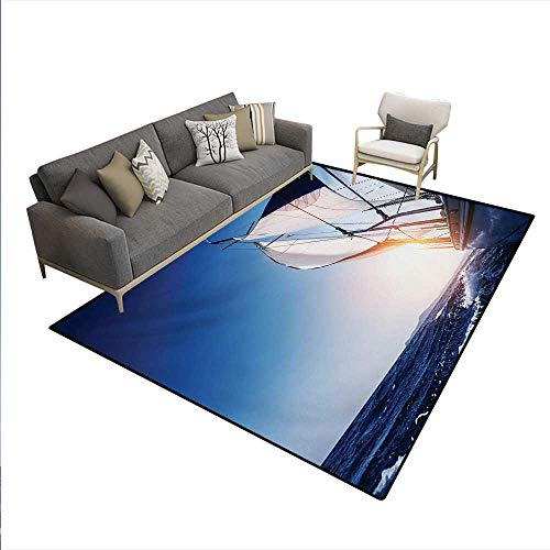 - Floor Mat,Sail Boat in Action Summer Adventure Water Transport Sunset Travel Print,3D Printing Area Rug,White Dark Blue,6'6