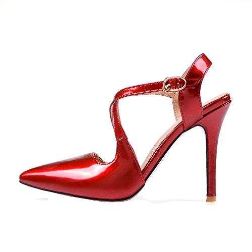 YE Damen Spitze Ankle Strap High Heels Stiletto Lackleder Pumps mit 10cm Absatz Party Elegant Kleid Schuhe Rot