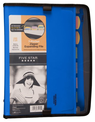 Five Star Expanding File, Customizable, 7-Pockets, 13.75 x 10.75 Inches, Blue (72711)