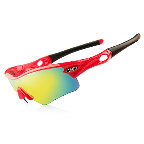 CoolChange Polarized Sports Sunglasses Cycling Glasses with 5 Interchangeable - Sunglasses Eclipse Polarized