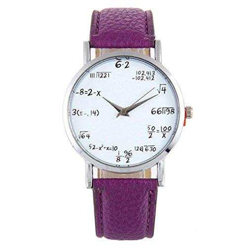 Women's Watch,Balakie Watch Fashion Mathematical Formula Printed Leather Band Analog Quartz Wrist Watch (Purple, alloy)
