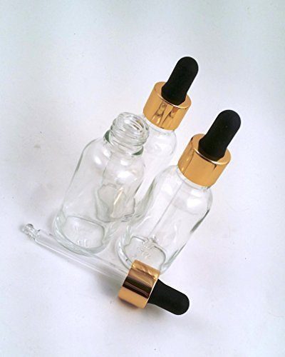 3 botellas de vidrio transparente para aromaterapia de 30ml con cuentagotas de vidrio dorado