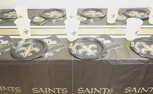 (New Orleans Saints Dad's birthday, draft day party, 49 piec set, Tablecloth,16 plate, 16 napkins, and large plastic 16)