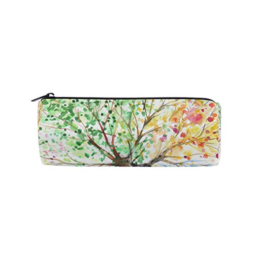 Pencil Case Colorful Four Season Tree Branch Women Makeup Bag Zippered Pencil Box Round Stationery Bag for Students