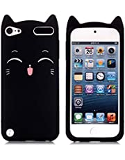 iPod Touch 5 Case, iPod Touch 6 Case, Fashion Cute 3D Black Meow Party Cat Kitty Kids Girls Lady Protective Cases Soft Case Skin for Apple iPod Touch 6th and iPod Touch 5