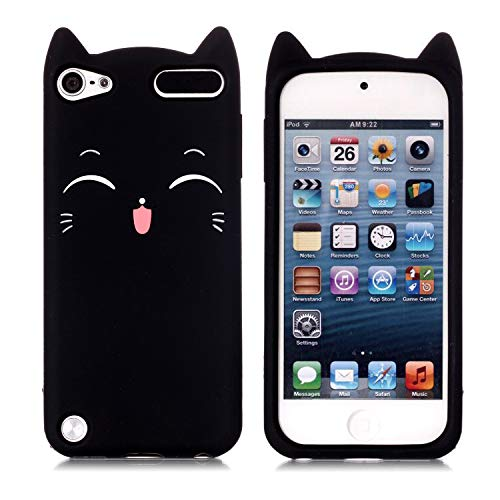 Contour Design Mp3 - iPod Touch 5 Case, iPod Touch 6 Case, Fashion Cute 3D Black Meow Party Cat Kitty Kids Girls Lady Protective Cases Soft Case Skin for Apple iPod Touch 6th and iPod Touch 5