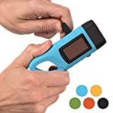 Rechargeable Flashlight with Solar Power & Hand Crank : High Lumen LED's, Tactical Grip, Mini Keychain Carabiner for EDC & Outdoor Camping (Blue)