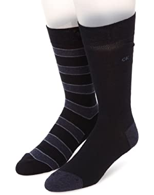 Calvin Klein 2-Pack Multi Stripe/Solid Men's Socks, Navy
