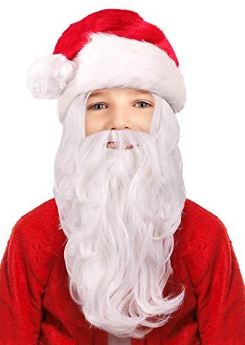 Narwhal Novelties Kids Santa Wig & Attached Santa Beard, Christmas White