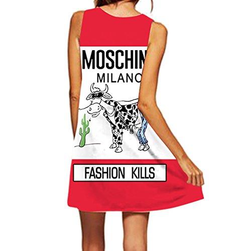 Honghu Vestido Sin Mangas Impresión Mujeres Mini Printing Vestido de Verano Rojo