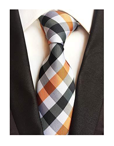 Men's White Black Orange Wave Plaid Silk Ties Handmade Woven Daily Dress Necktie