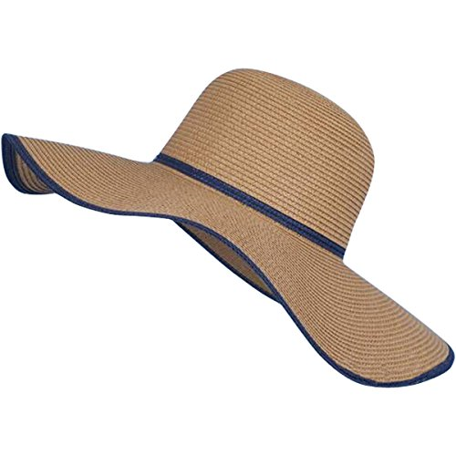 Lanzom Women Lady Wide Brim Straw Hat Floppy Foldable Roll up Beach Cap Sun Hat UPF 50+ (Style A-Brown)