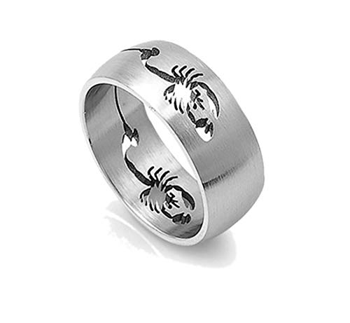 (Faerynicethings Scorpion Curving Band Stainless Steel Ring Size 8)