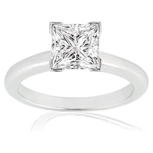 1 Carat Princess Cut Diamond Solitaire Engagement Ring 14K White Gold V Prong (J, SI1, 1 c.t.w) Very Good Cut