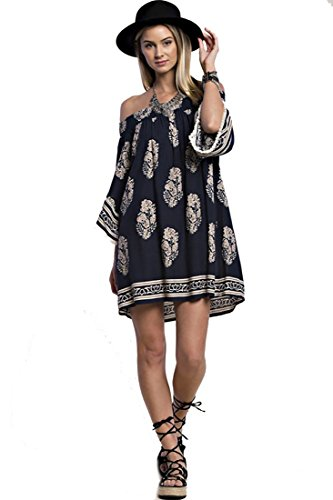 Boho-Chic Vacation & Fall Looks - Standard & Plus Size Styless - Spring Preview! Smocking Bare Shoulder Batik Print Peasant Dress (Navy)