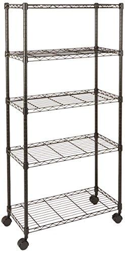 AmazonBasics 5-Shelf Shelving Unit on Wheels - Black