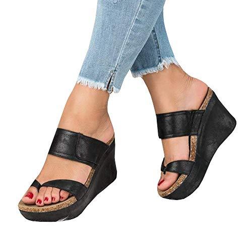 (Syktkmx Womens Slip on Platform Wedge Slides Thong Flip Flops Sandals with Heels)