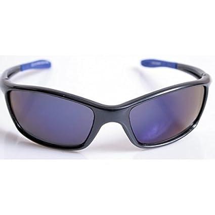 Occhiali da sole Dunlop Sport - Uomo - Montatura Nera - 1195C2 / Home Shop Italia (Montatura nera, astine flessibili blu e lenti grigie, azzurrate all'esterno)