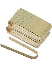 """Hileyu 60 Stuks Bamboe Voedsel Tang voor Koken 4 """"Mini Broodrooster Tang Kleine Natuurlijke Bamboe Keuken Broodrooster Tang Milieuvriendelijk Kookgerei"""