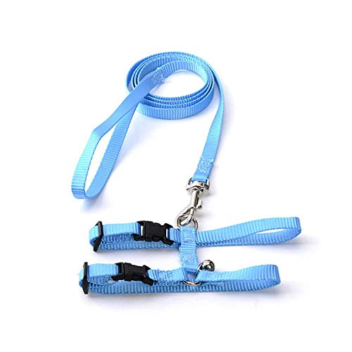 Aolvo Adjustable Kitten/Ferret/Rabbit/Cat Walking Harness Leash Walking Escape Proof, Soft Nylon Pet Strap Belt Safety Rope Leads Bell Bunny, Ferret, Cat Other Small Animals, Blue