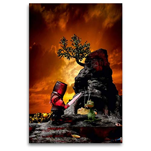 CALVENDO Toile Textile de qualité supérieure 80 cm x 120 cm Le Petit Dragon   Tableau sur châssis – Impression sur Toile véritable – Un Calendrier Conte de Contes de fées Spass Spass