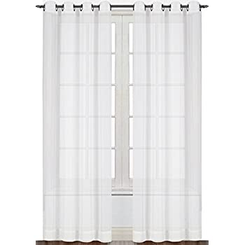 Nicetown Sheer Curtain Panels Bedroom Home Decoration Solid Voile Panels With Ring