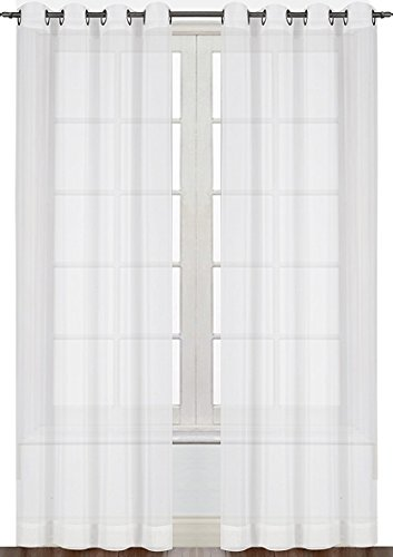 Premium White Sheer Curtains - Sheer Voile - White Luxurious - High Thread Window Groomet Curtains - 2 Panel Set - 54 by 84 Inches - by Utopia Bedding