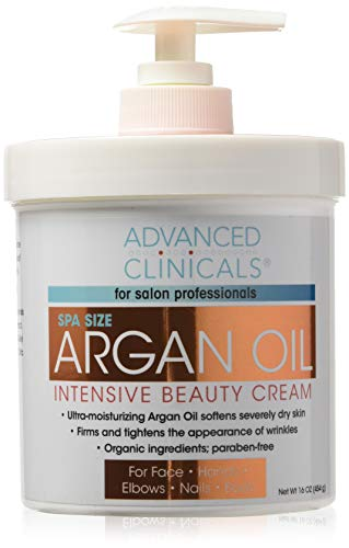 Advanced Clinicals Spa Size Pure Argan Oil Intensive Beauty Cream. Anti-aging Cream for Wrinkles and Dry Skin. (Two - 16oz)