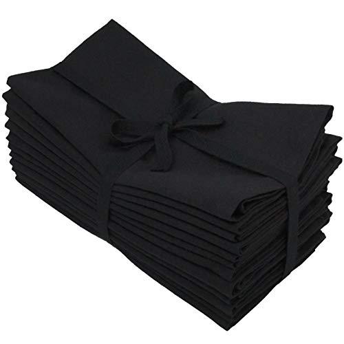 (Aunti Em's Kitchen Black Cotton Dinner Napkins Cloth 12 Pack 20x20 100% Natural Oversized Bulk Linens for Dinner, Events, Weddings, Set of 12, Tuxedo Black)