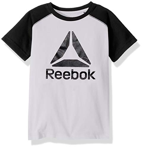Reebok Boys Big Logo Color Block T-Shirt, True White, 10/12 ()