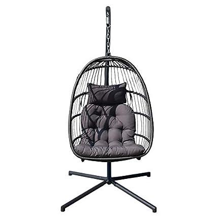 Amazon Com Simoner Hanging Basket Chair Detachable Wicker Rib