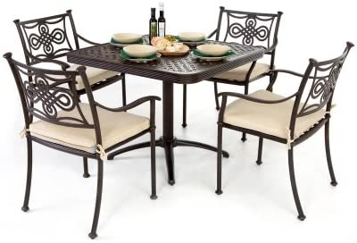 Strange Square Cast Aluminium Garden Furniture Set 4 Seater Theyellowbook Wood Chair Design Ideas Theyellowbookinfo