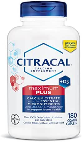 Citracal Maximum, Highly Soluble, Easily Digested, 630 mg Calcium Citrate with 500 IU Vitamin D3, Bone Health Supplement for Adults, Caplets, 180 Count