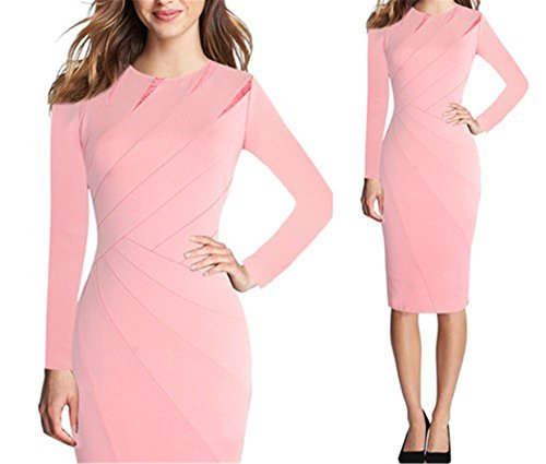 Angelia Daugh Womens Autumn Winter Patchwork Slim Casual Work Business Office Party Fitted Pencil Sheath Dress Pink Long Sleeve 5XL (50s Day Dress Up Ideas)