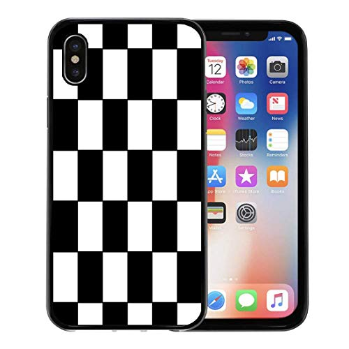 Emvency Phone Case for Apple iPhone Xs case,Checker Black and White Racing Checkered Pattern Flag Check Board for iPhone X Case,Rubber Border Protective Case,Black