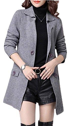 (ブリランテ) BRILLANTE レディース トップス ニット カーディガン ロング スタンダードカラー ボタン 長袖 七分袖 ポケット 無地 大きいサイズ