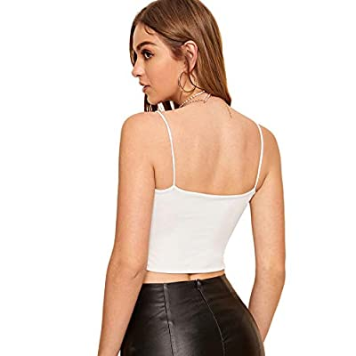 Floerns Women's Sleeveless Spaghettie Strap Cut Out Crop Top at Women's Clothing store